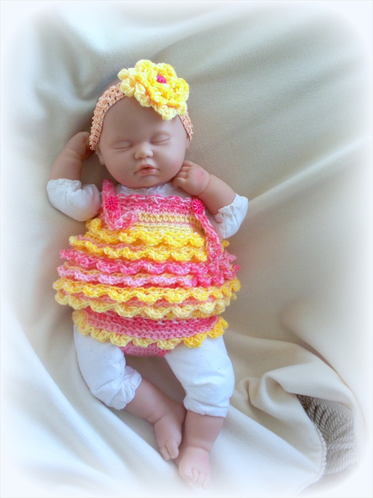 Baby Girl Crochet Diaper Cover Headband And Dress Set On
