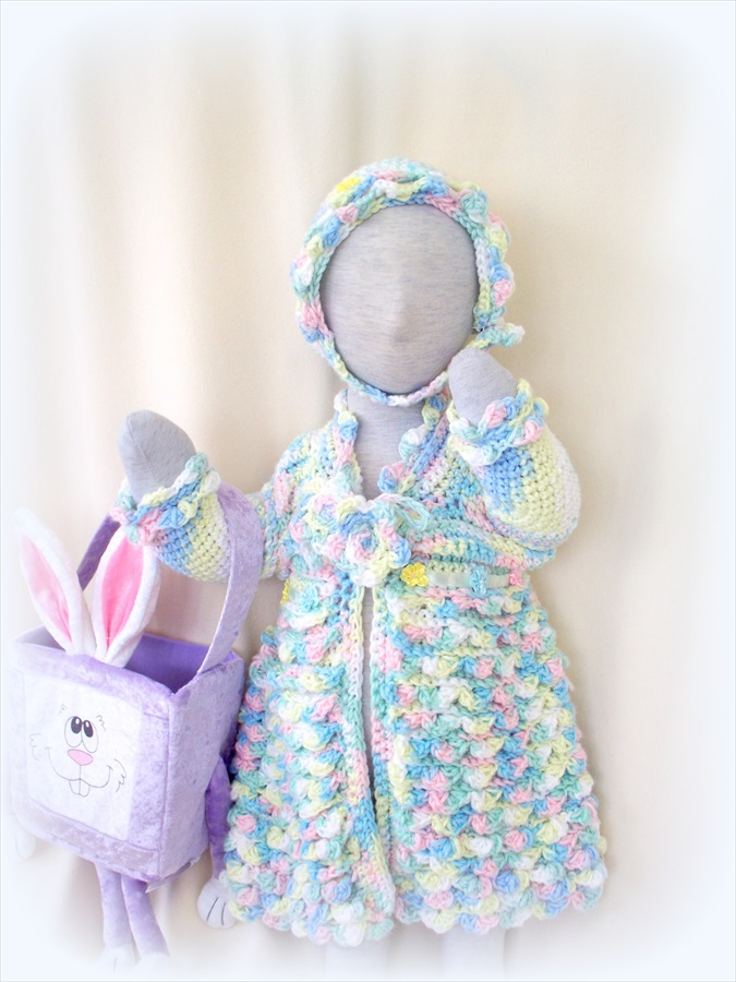Spring colors 12 to18 Month Sweater dress/coat, bonnet and headband set