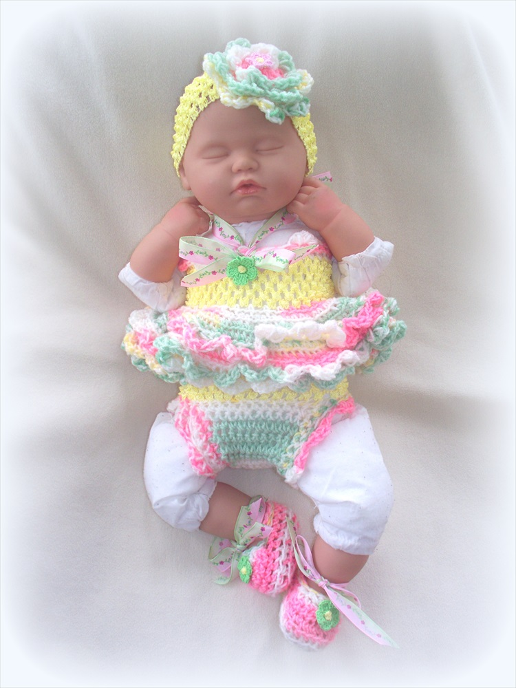 2c02f92a64803 SALE Newborn Baby Girl Little Sunshine Baby Doll Top, Diaper Cover,  Headband and Shoes