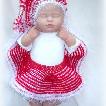 Candy Cane Elf Hat and Skirt for Infant 0 to 6 months