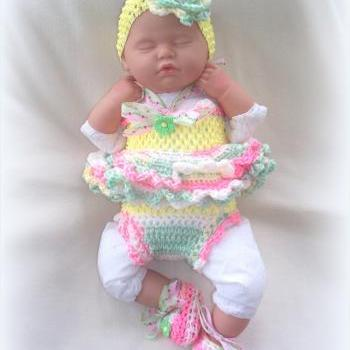 SALE Newborn Baby Girl Little Sunshine Baby Doll Top, Diaper Cover, Headband and Shoes Set